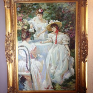 Eugene Raclin original painting of Victorian Ladies at Tea Sold for $2,500