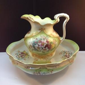 Antique Porcelain Pitcher & Wash Basin